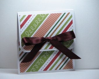 Holiday Stripes and Stitches Christmas Gift Card Holder