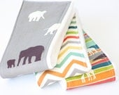 Baby Burp Cloths - Set of 3 - Serengeti from Birch 100% Organic Fabric- The Herd Shroom, Chevron in Multi, and The Plains Stripe
