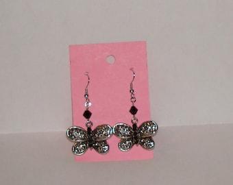 """1-1/4"""" L. x 1"""" W.  Silvertone Butterfly Charm w/ Black Swarovski Crystal  Earrings"""