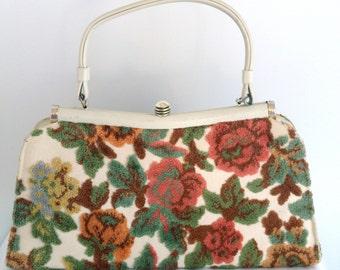 Vintage Floral Carpet Tapestry Handbag in Rose, Peach, Sage and Cream