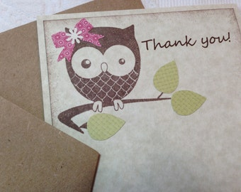 Baby Owl Thank You Cards - Baby Shower Thank You Cards - Owl Birthday Party Thank You Cards