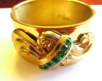 Vintage Coro Signed Green Rhinestone Wide Cuff Bracelet