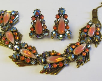 Stunning - Vintage Florenza Peach Rhinestone Demi Parure Bracelet and Earrings - Estate Jewelry