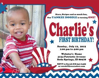 4th of July Birthday Invitation Patriotic First Birthday Yankee Doodle First Birthday Red White Blue Chevron Photo Customizable Printable
