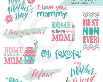 Mother's Day and Mom Word Clipart