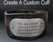Men's Custom Leather Cuff Bracelet - Personalized Wide Leather Cuff