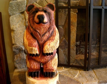 "24-28 inch Bear Cub Chainsaw Wood Carving, ""Dually"""