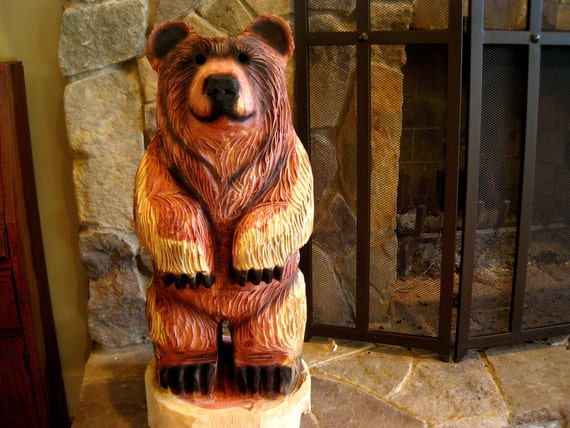 Chainsaw carved bear cub dually by sleepyhollowartists on etsy