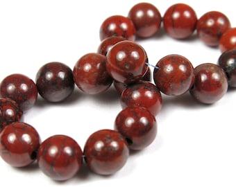 Brecciated Red Jasper Small Round Bead - 6mm - 20 Pieces - B2928