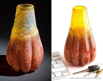 One Of A Kind Handblown Glass Vase - Sandy Gold and Ruby With Round Bulging Ribs