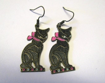 Black Cat with Bow Dangle Pierced Earrings, Purple or Pink Bow You Choose Color Cat Earrings, Cat Lover, Aged Solid Brass Cat Earrings
