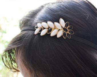 Black and White Jewel Headband