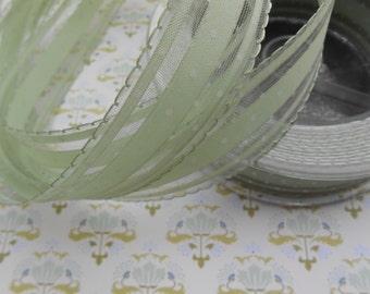 """Ribbon Sage Green Mini Dots 1"""" width 2 yds"""