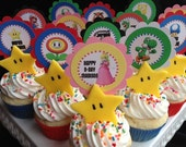 Super Mario Bros. wii Personalized Party circles Cupcake toppers Favors tags Birthday Boy Printable Digital File DIY