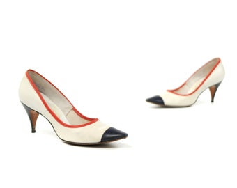 Vintage 1960's Red White + Blue Americana Pointed Toe Leather High Heel Pumps Colorblock Shoes 7 1/2