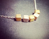 Silver and Brass Cubes Necklace - Modern Two Tone Minimal Necklace on Sterling Silver Chain