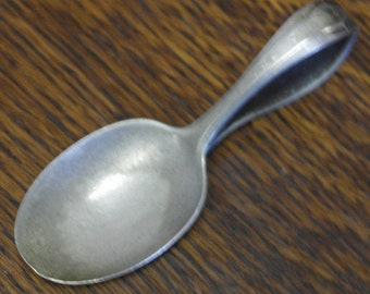 antique silver plate baby feeding spoon