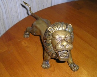 Vintage Large Brass Lion Figural 1940's