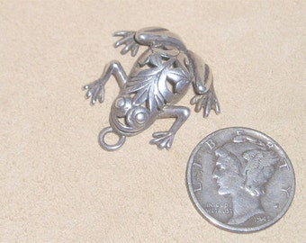 Vintage Sterling Silver Charm Or Pendant Tree Frog 1960's Signed Jewelry 3020