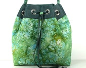 Green Abstract Floral Bucket Purse/ Batik and Leather/ Drawstring Top