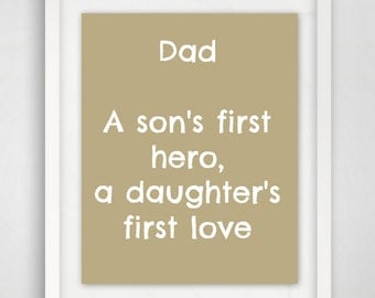 Father Gift, Art Print, Gift from Daughter, Gift For Men, Dad Quote, 8x10 Quote Art, Father Quote