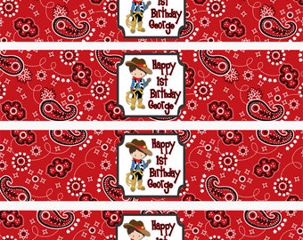 Cowboy Water Bottle Labels, Wild West Party Favors, Rodeo Water Bottle Labels, Cowboy Party, Cowboy Drink Wrappers (326)