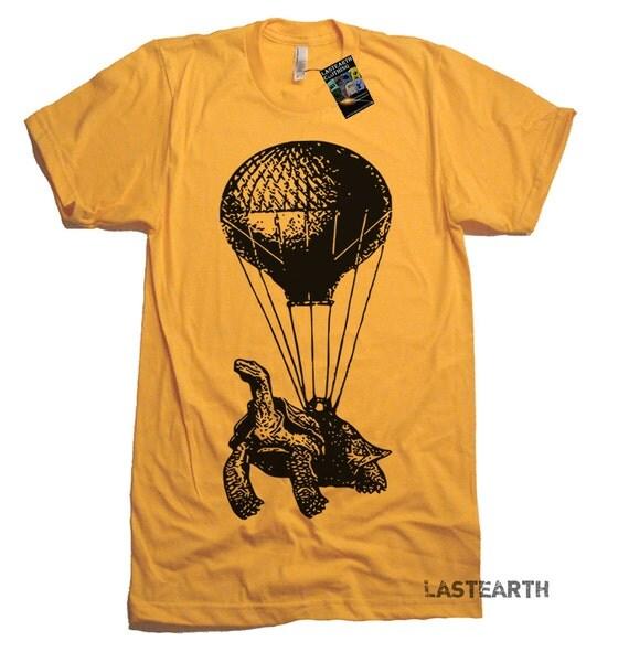 Hot Air Balloon Tshirt Turtle T Shirt Vintage Retro T Shirt Funny Turtle T Shirt Mens Tshirts Flying T Shirt Gifts For Turtles Airborn Shirt
