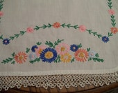 Embroidered Tatted Runner Vintage Hand Stitched Table Runner
