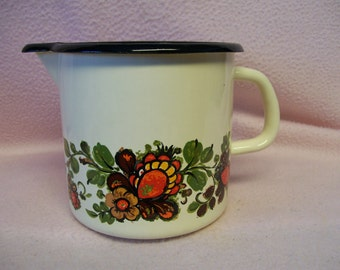 Enamelware Decorated Pitcher Vintage Hand Painted
