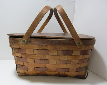 Picnic Basket with Lid and Handles Woven Wood Picnic Basket Rustic Farmhouse Cottage Chic Storage Basket Vintage Picnic Basket