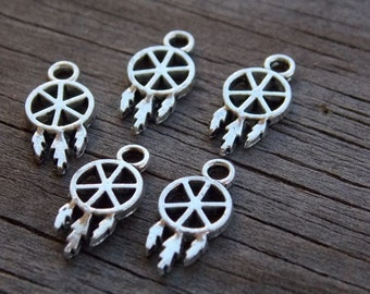 24 Tiny Silver Dream Catcher Charms 15mm