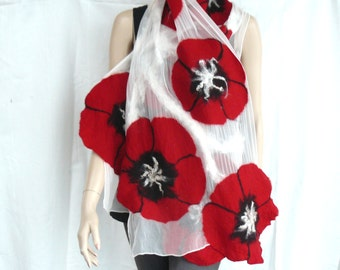 Nuno felted shawl - large scarf - wool and silk - red and white flowers scarf