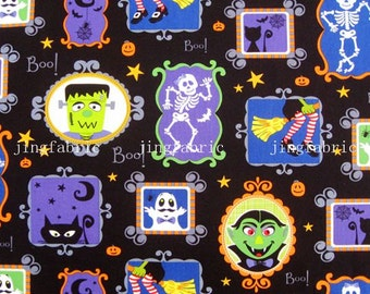 C117 - 1 meter SDLP Cotton Fabric - Cartton - boy, cat and skull  (140cm width)