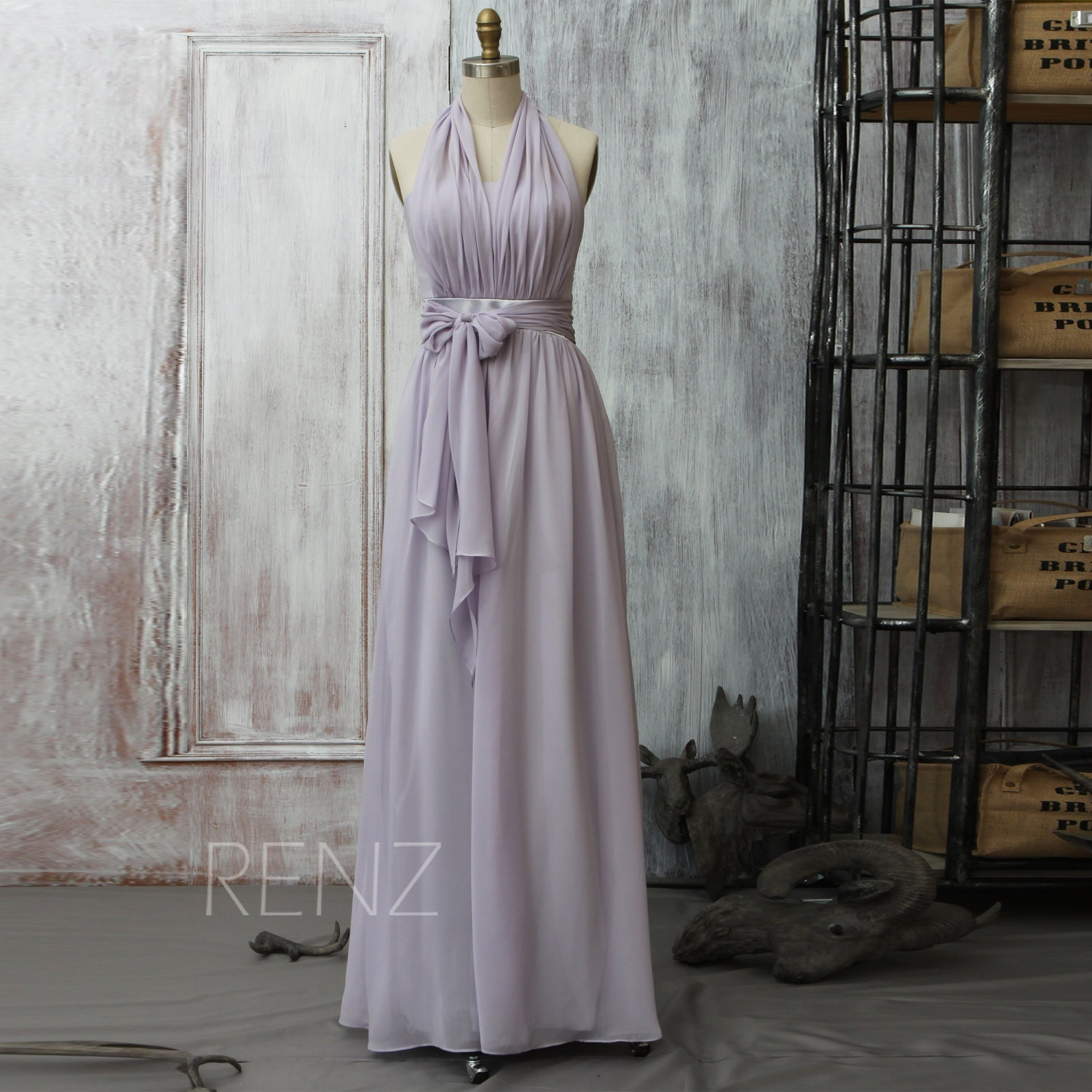 2016 long gray bridesmaid dress light grey bow wedding by for Light grey wedding dress