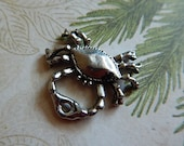 Silver Plated Pewter Crab Charm Charms Jewelry Findings Sea Life Ocean Beach