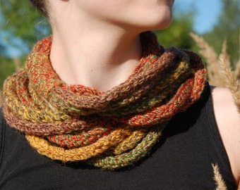 Infinity Scarf, Knit Infinity Scarf, Multicolor Infinity Scarf, Rope Scarf, Autumn Colors, Skinny Scarf, Brown Green Scarf