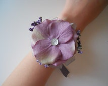 Lalic, Lavender Petals Wrist Corsages with Rhinestone Accent