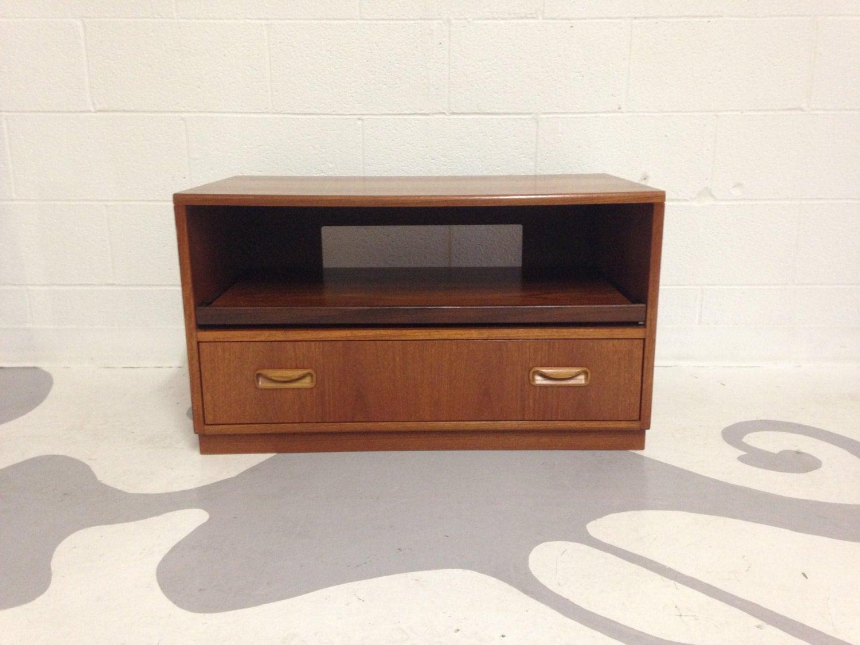 mid century modern tv stand media storage in teak by g plan. Black Bedroom Furniture Sets. Home Design Ideas