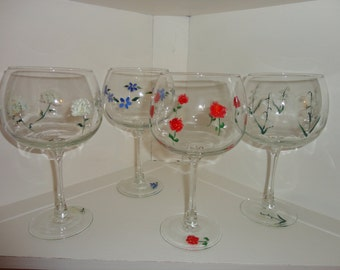 Hand Painted Floral Wine Glasses (QTY 4)