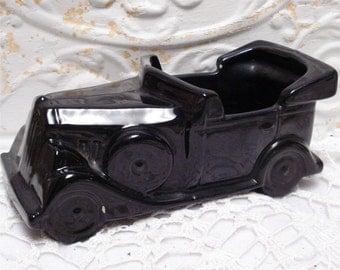 McCoy Floraline 532 Antique Black Car Planter Mid Century