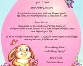 Personalized Letter From the Easter Bunny/Easter Bunny Letter/Child's Name/Date/Pink/Blue/Butterfly/Easter Egg
