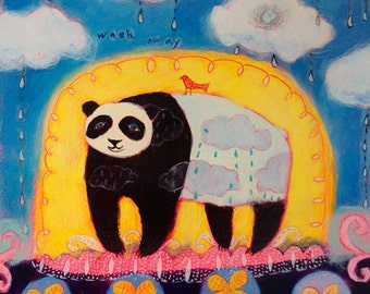 Panda and Cloud Limited Edition Giclee on Paper - Whimsical animal art/ Children's decor