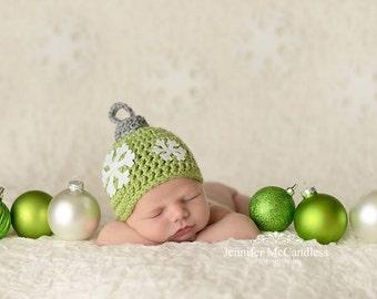 Newborn Crochet Christmas Ornament Hat - Photo prop, newborn, crochet, christmas