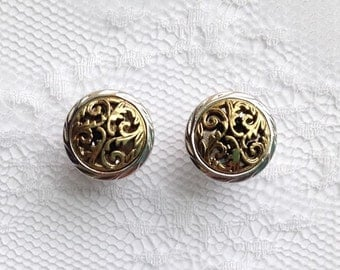 """Gold and Silver Tone Ornate Vintage Style Wedding Pair Plugs Gauges Size: 0g (8mm), 00g (10mm), 1/2"""" (12mm), 9/16"""" (14mm), 5/8"""" (16mm)"""