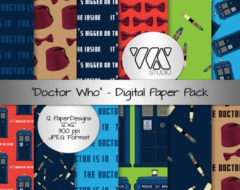 Original Doctor Who Inspired Digital Paper Background Ideal for Scrapbooking - Tardis, Sonic Screwdriver, It's Bigger on the Inside, Whovian