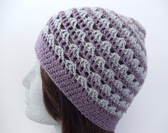 Purple and Silver Striped Crochet Hat Lavender with Grey Crochet Beanie (HAT103 Purple Topaz/Platinum)