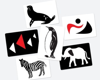 Black, White and Red Contrast Animal & Geometry 6 Cards