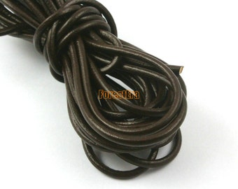 5 Yards 3mm Leather Cord Dark Brown Leather Belt Round Leather Cord Genuine Leather Cord (YPS17)