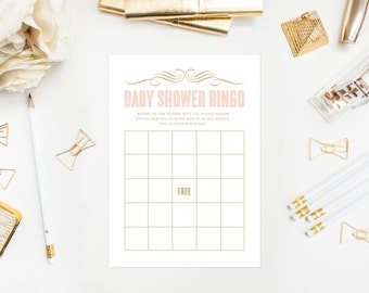 Instant Download - Old Fashioned Baby Shower Bingo Cards