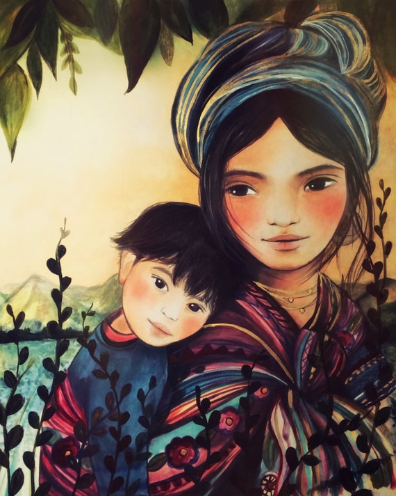 print of mother and son guatemala inspired
